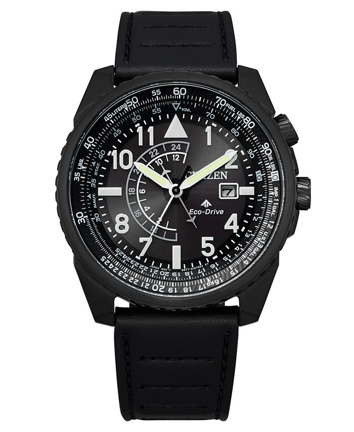 Citizen - Men's Promaster Black Leather Strap Watch 42mm