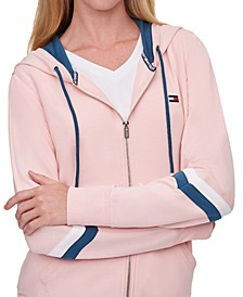 Striped-Sleeve Zippered Hoodie