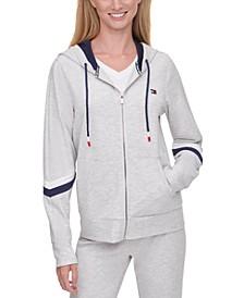 Striped-Sleeve Zippered Hoodie