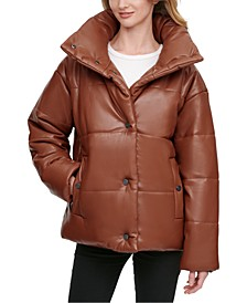 Oversized Faux-Leather Puffer Coat, Created for Macy's