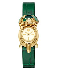 Women's Turtle Case Green Leather Strap Watch 22x24mm