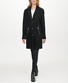 DKNY Single-Breasted Bouclé Walker Coat