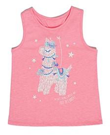 Toddler Girls Party Llama Tank Top