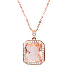 Rose Gold Plated Simulated Morganite Octagon Pendant