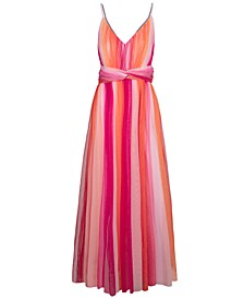 Striped Chiffon Twist-Waist Maxi Dress