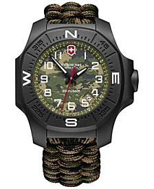Men's I.N.O.X. Carbon Limited Edition Green Camouflage Paracord Strap Watch 43mm Gift Set