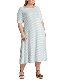 Plus Size Striped Cotton-Blend Maxidress