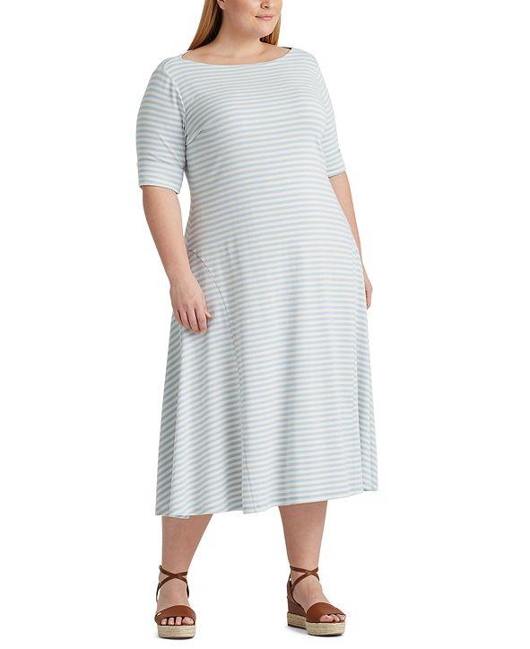 Lauren Ralph Lauren Plus Size Striped Cotton-Blend Maxidress