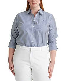 Plus Size Stretch Cotton Cropped Pants