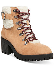 Madden Girl Hayess Faux-Fur Lug Sole Hiker Booties