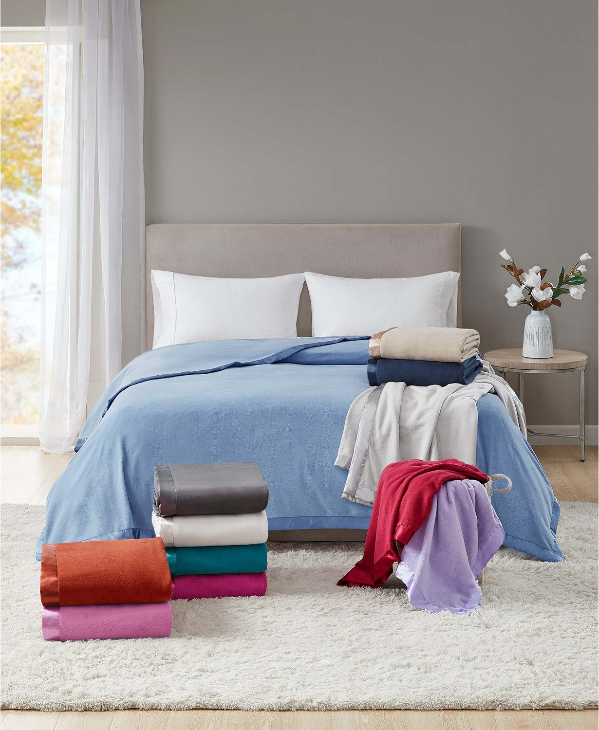 martha stewart fleece blanket picture on bed