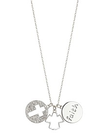 "Gratitude & Grace ""Faith"", Angel, Crystal Cross Charm Pendant Necklace in Fine Silver-Plate"