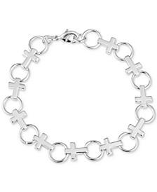 Gratitude & Grace Cross Link Bracelet in Fine Silver-Plate