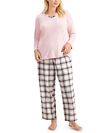 Plus Size Mixit Flannel Pants Pajama Set, Created for Macy's