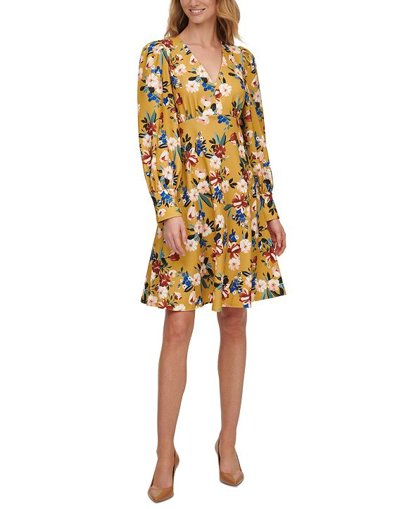 Calvin Klein Balloon-Sleeve Floral-Print Dress