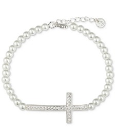Gratitude & Grace Cubic Zirconia Imitation Pearl Cross Bracelet in Fine Silver-Plate
