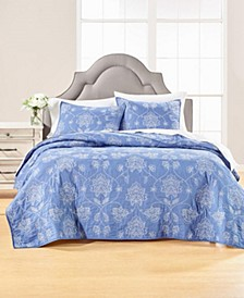Batik Floral Embroidery Full/Queen Quilt, Created for Macy's