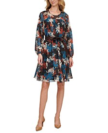 Floral-Print Belted A-Line Dress