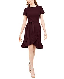 Ruffled Tulip-Hem Crepe Dress