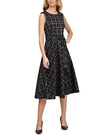 Metallic Plaid Ponte Belted Dress