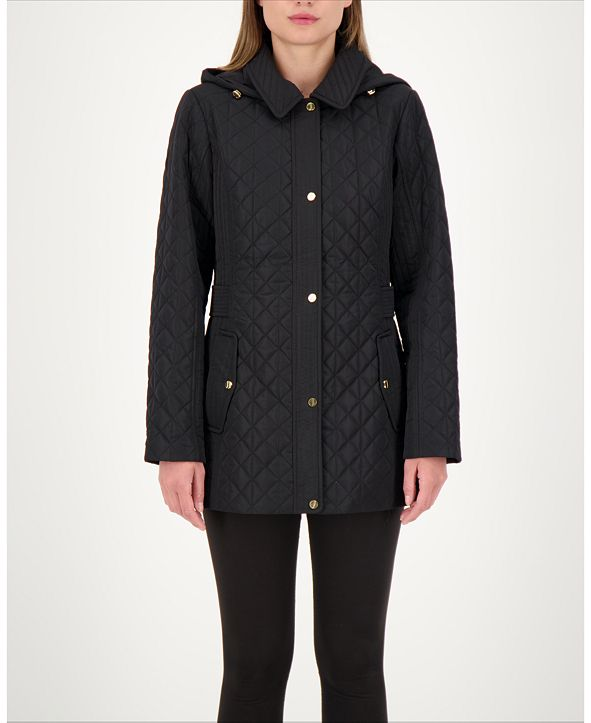 Jones New York Hooded Quilted Water-Resistant Coat, Created for Macy's