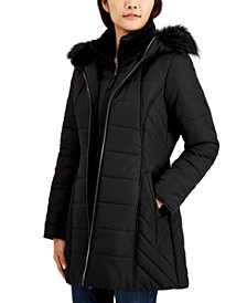 Juniors' Hooded Faux-Fur-Trim Bib Puffer Coat