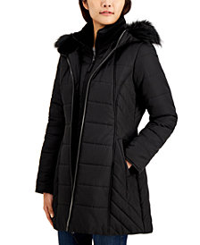 Maralyn & Me Juniors' Hooded Faux-Fur-Trim Bib Puffer Coat