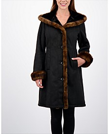 Petite Hooded Faux-Shearling Coat