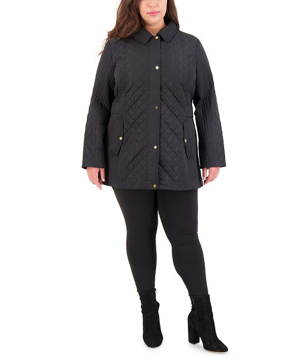 Jones New York Plus Size Hooded Quilted Coat, Created for Macy's