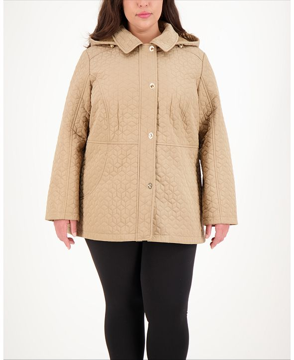 Jones New York Plus Size Hooded Water-Resistant Quilted Coat