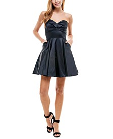 Juniors' Satin Strapless Skater Dress