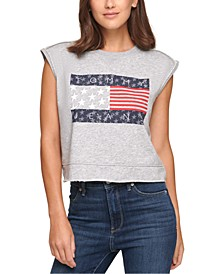 Cropped Flag Sleeveless Sweatshirt