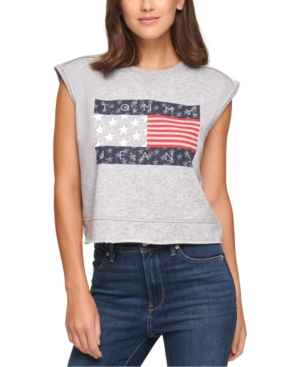 Tommy Jeans CROPPED FLAG SLEEVELESS SWEATSHIRT
