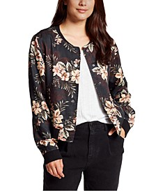 Floral-Print Button-Down Bomber Jacket