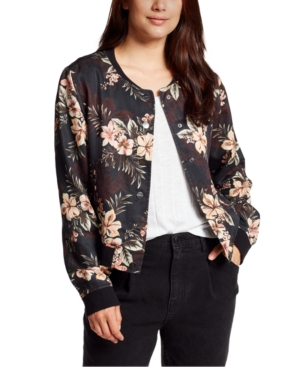 William Rast Downs FLORAL-PRINT BUTTON-DOWN BOMBER JACKET