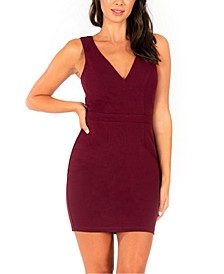 Juniors' Strappy Illusion-Back Bodycon Dress