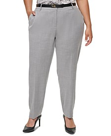 Plus Size Slim Ankle-Length Pants