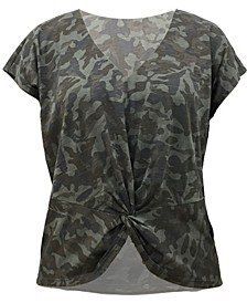 INC Camo Twist-Front T-Shirt, Created for Macy's