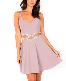 Juniors' Embellished Infinity-Waist Fit & Flare Dress