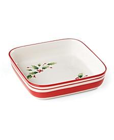 Holiday Handpaint Stripe Square Dish