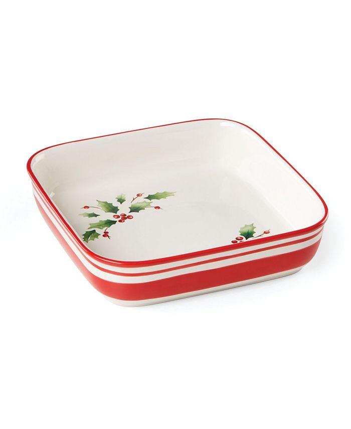 Lenox - Holiday Handpaint Stripe Square Dish