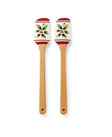 Holiday Handpaint Stripe 2-Piece Spatula Set