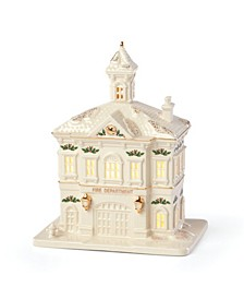 Light-Up Village Firehouse Figurine