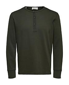 Homme Men's Long Sleeve Split Neck Henley T-Shirt