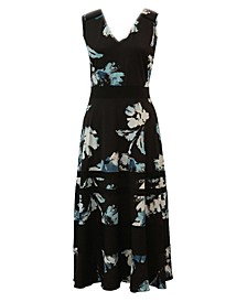 Plus Size Contrast-Trim Floral-Print Maxi Dress