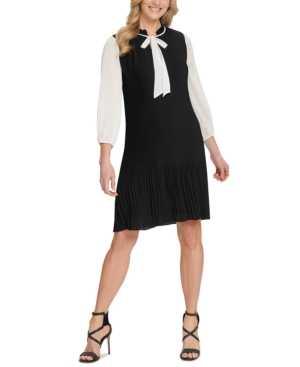 60s Dresses | 1960s Dresses Mod, Mini, Hippie Dkny Pleated Tie-Neck Shift Dress $124.99 AT vintagedancer.com
