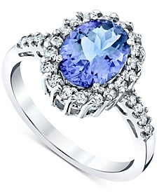 Tanzanite (2-1/10 ct. t.w.) & Diamond (3/8 ct. t.w.) Ring in 14k White Gold
