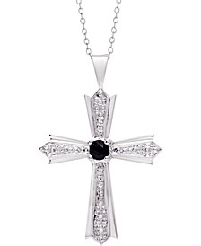 "Sapphire Cross 18"" Pendant Necklace (1/6 ct. t.w.) in Sterling Silver"