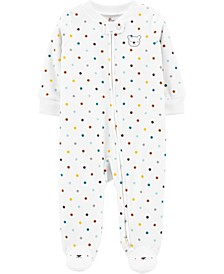 Baby Boy or Girl  Polka Dot Zip-Up Fleece Sleep & Play