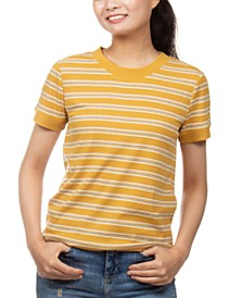 Juniors' Ribbed-Knit Striped Ringer T-Shirt